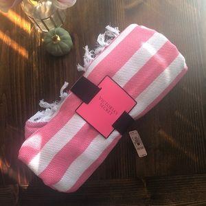 Victoria's Secret NWT Striped Fringe Blanket